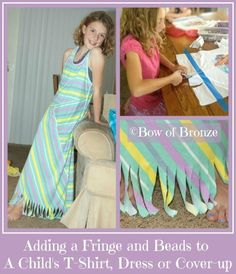 Adding a Fringe and Beads to a child's t-shirt is easy and something fun your little girl can help with.  It's a great way to dress up a VBS tshirt, or make matching shirts for best friends.  This method works on anything made from tshirt material and does not require sewing.