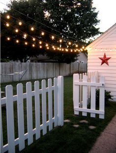 White Picket Fence and Lights