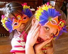 Kid-friendly demi masks can really help transport kids into play. Make a few for the prop box.