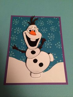 Olaf paper piecing card from Frozen made with Silhouette Cameo. ~imagine that by Lori