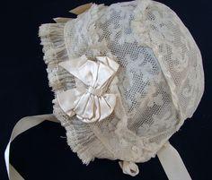 Circa 1900, Fine Bobbin Lace Bonnet w/Silk Ribbons
