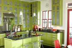 kitchens, cabinets, red kitchen, island style, kitchen colors, green kitchen, cabinet doors, rosemary beach, limes