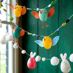 Fillable eggs made into cute #rabbit and #EasterChick #garland #pompom #buttons