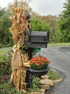 I love Fall decorating with corn stalks but haven't tried it around the mailbox.  I think this is a good year to do it!