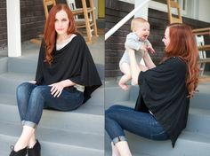 DIY Modern Nursing Shawl (30x26 folded with buttons down one side, like this: http://babyccinokids.com/blog/category/for-ourselves/maternity-for-ourselves/page/2/ & https://www.nurselovesfarmer.com/2012/10/seraphinematernityclothinggiveaway/) & make a nursing scarf (http://www.babble.com/style/diy-infinity-scarf-that-doubles-as-a-nursing-cover/seam/).