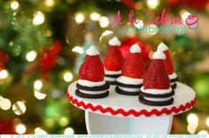 Cute Strawberry Santa Hats! Easy Christmas Party Recipe Ideas by A To Zebra Celebrations via LivingLocurto.com