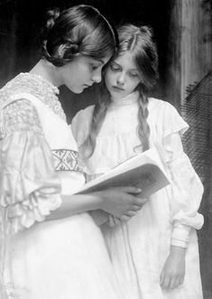 Edwardian girls reading.