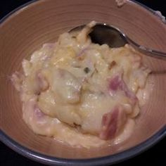 Ham, Cheddar cheese, Monterey Jack cheese, and potatoes are slow-cooked for a warm comforting meal.