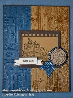 A masculine thank you card using The Open Sea, Settin' Sail, and Hardwood stamp sets from Stampin' Up!