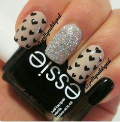 Nude and Black! ❤❤❤❤ heart nails, nail polish, color combos, nail designs, nail colors, nail arts, sparkle nails, glitter nails, valentine nails
