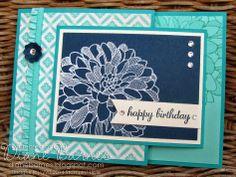 Stampin Up Regarding Dahlias joy fold birthday card by Di Barnes #stampinupau #colourmehappy
