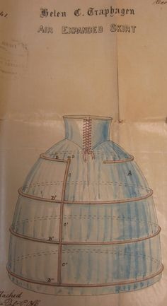 """The sketch is titled """"Air Expanded Skirt"""" and the garment is indeed just that.     Helen Traphagen patented the """"Victoria Inflated Skirt"""" in 1857.   Documents Collection. Museum of the City of New York. 36.406.1"""