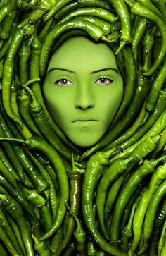 hot stuff, chile, portrait photography, colors, art, photo manipulation, chili peppers, green peppers, color photography