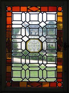 a stained glass window, Château de Chambord at Chambord, Loir-et-Cher, France   UNESCO World Heritage