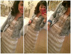 MAXI DRESS FOR THE WIN!!!  Khaki and white striped maxi dress with denim jacket and wedges.