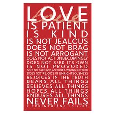 Would make a nice wedding gift framed.  Love Valentines Bible Verse Printable Subway Art Poster 1 Corinthians 13
