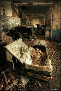 abandoned mental hospital....  i find the term 'mental hospitals' so jarring.