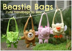 Beastie Bags PDF Pattern Cute Handbags to Sew With by whileshenaps, $9.00