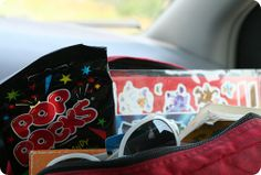 "great ideas for how to survive a road trip with kids, including having a ""kid store""  that kids earn points to buy things from.  ...All I saw was kid store and earn points to buy... I want to do THAT in my house! :)"
