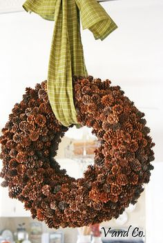 Pinecone wreath tutorial.  I like the green with it.