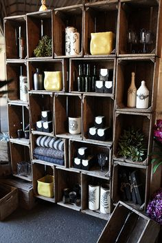 Crate Wall at Rolling Greens Nursery. Clever storage solution :) idea, crate wall storage, shop displays, bottles, shelv, wooden crates, antiqu, wood crates, crates wall
