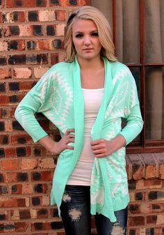 Mint Aztec Cardigan - cuz it's too coooold for you here now, so let me hoooold both your hands in the holes of my sweater!! Aghh cardigans and sweaters >>>>> mint aztec, aztec cardigan