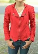 Red Zip Up Jacket with Gathers