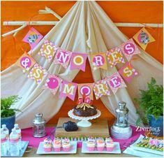 camp parti, parti hidden, birthday parties, smore parti, parti idea, indoor camping