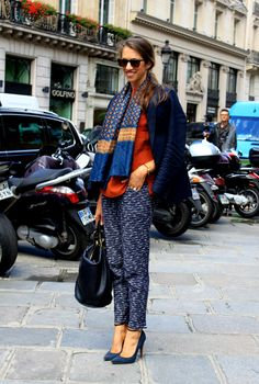 Blue and orange; mixing prints. (Photo of Susan Cernek at Balmain).