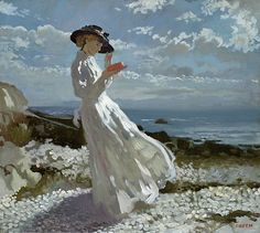'Grace Reading at Howth Bay' (date not specified) by William Orpen (1878-1931). Oil on canvas. 45.8 x 50.8 cm (18.03 x 20.00 in). Private collection. // Notes: Sitter is Grace Knewstub. More details: http://tinyurl.com/6oqahfx // Found by @RandomMagicTour (https://twitter.com/randommagictour) - Sasha Soren - Book trailer: http://www.youtube.com/watch?v=ImIzIx4IeQQ - Browse (Kindle/print): http://www.amazon.com/Random-Magic-Sasha-Soren/dp/0979777410/ref=sr_1_1?ie=UTF8&qid=1328315192&sr=8-1
