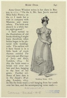 1818 Wedding Dress  - from digitalgallery.nypl.org