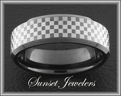 Black NASCAR Checker Flag Tungsten Wedding Ring with Free Inside Engraving! www.sunsetjewelers.com