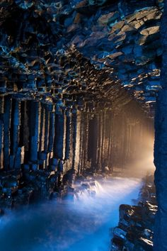 Fingal's Cave in the Hebrides Islands of Scotland. One of the most amazing and strangest places to see in Scotland.