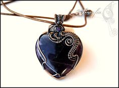 Amethyst heart pendant, solid copper wire wrapped- double sided pendant. $80.00, via Etsy.