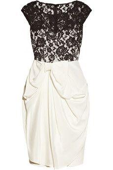 Silk-jersey and lace dress