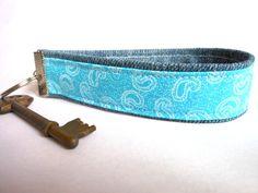 Upcycled Denim Jeans Key Ring Wristlet Key Fob Key Chain Bag Charm Teenager Children Turquoise Bracelet on Etsy, £5.00