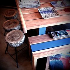 rustic. pops of blue. good design. dining table with bench seats. by scout regalia.