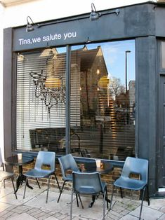 """""""Tina, we salute you"""" in Dalston, London is an amazing name for a café. And fortunately the food is great too: http://www.timeout.com/london/restaurants/venue/2%3A21945/tina-we-salute-you"""