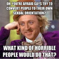 Oh, you're afraid gays try yo convert people to their own sexual orientation? What kind of horrible person would do that? Support gay rights.