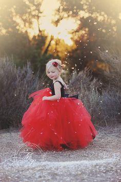 #Wedding Flower Girl Red Tulle Dress