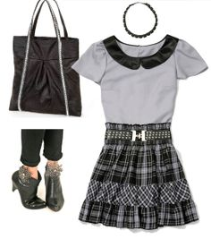 Create this look for a fun party outfit - #DIY grey plaid skirt, tote bag and embellished shoes!