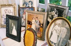Displaying photos of family members with various vintage frames.  Photography by byleah.com