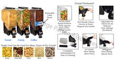 "Gravity dispensers- candies, coffee beans, nuts, pet foods, cereals and many additional. The dispenser, bulk food container is fabricated out of polycarbonate. holds 90 pounds of dry food with an total dimension of 9"" wide x 27"" tall x 18"" deep with provide a 4""h x 9""l sign holder."