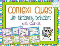 "Context Clues Task Cards with Dictionary Definitions.  Common Core Aligned! Engage your students in learning about using context clues in conjunction with the dictionary with these 32 task cards! Each card includes a sentence with an underlined word as well as a ""dictionary"" entry for the specified word. Students must use context clues from the sentence to determine which definition best fits the word. $"