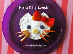 Hello Kitty #Lunch for #kids from creativekidsnacks.com kid food, hello kitti, kid snacks, burger recipes, apples, kitti lunch, veggie burgers, hello kitty, whipped cream