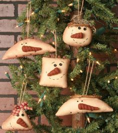 Set of 5 Primitive Country Snowmen Hanging Head Ornaments | eBay