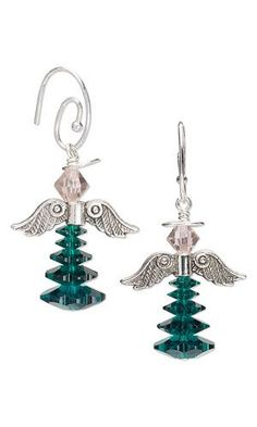 """Earrings with SWAROVSKI ELEMENTS, Antiqued Silver-Finished """"Pewter"""" Beads and Wirework"""