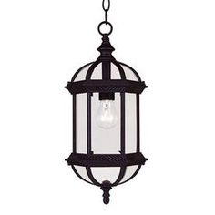 �18-in Textured Black Outdoor Pendant Light for Front Entryway from Lowes