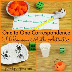 Halloween One-to-One Correspondence Math Activities for preschool, pre-k, and kindergarten.  Make learning to count fun with spiders, pumpkin seeds, and pom-poms!