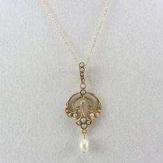 Art Nouveau Krementz 14K Gold Diamond Seed Pearl Lavalier Necklace Antique Late 1800s Yellow Gold Bridal Fine Jewelry